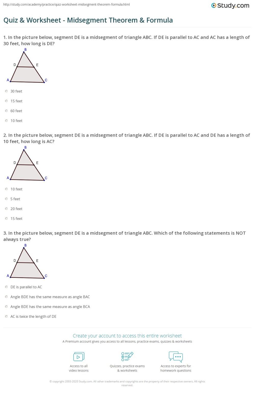 medium resolution of Quiz \u0026 Worksheet - Midsegment Theorem \u0026 Formula   Study.com