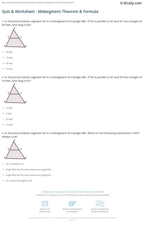 small resolution of Quiz \u0026 Worksheet - Midsegment Theorem \u0026 Formula   Study.com