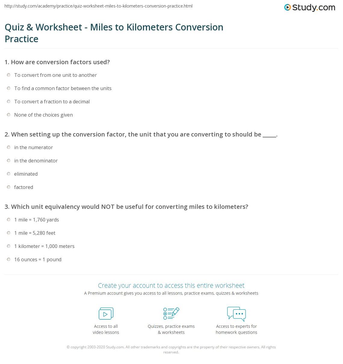 Unit Conversions Worksheet 1