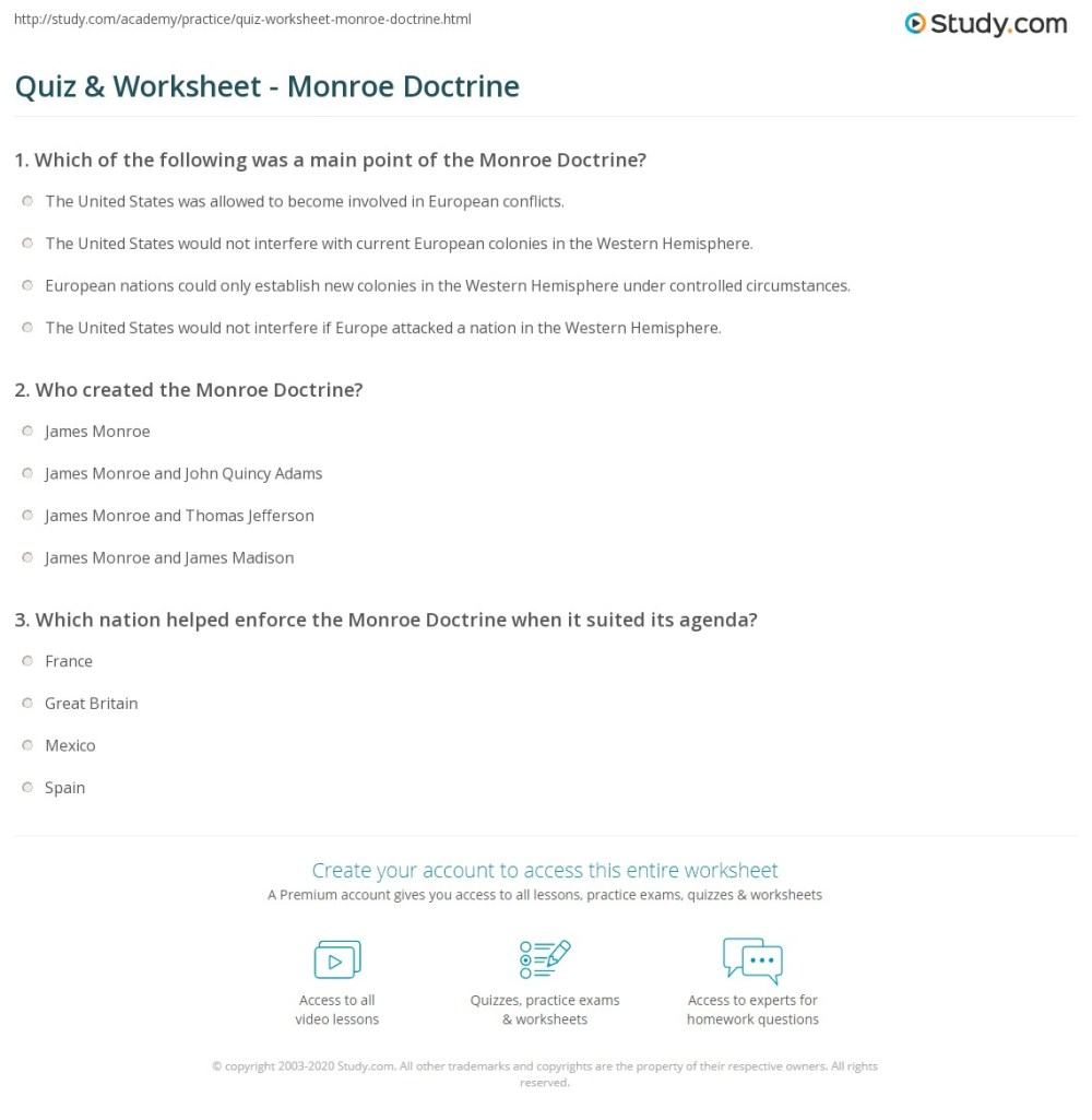medium resolution of Quiz \u0026 Worksheet - Monroe Doctrine   Study.com