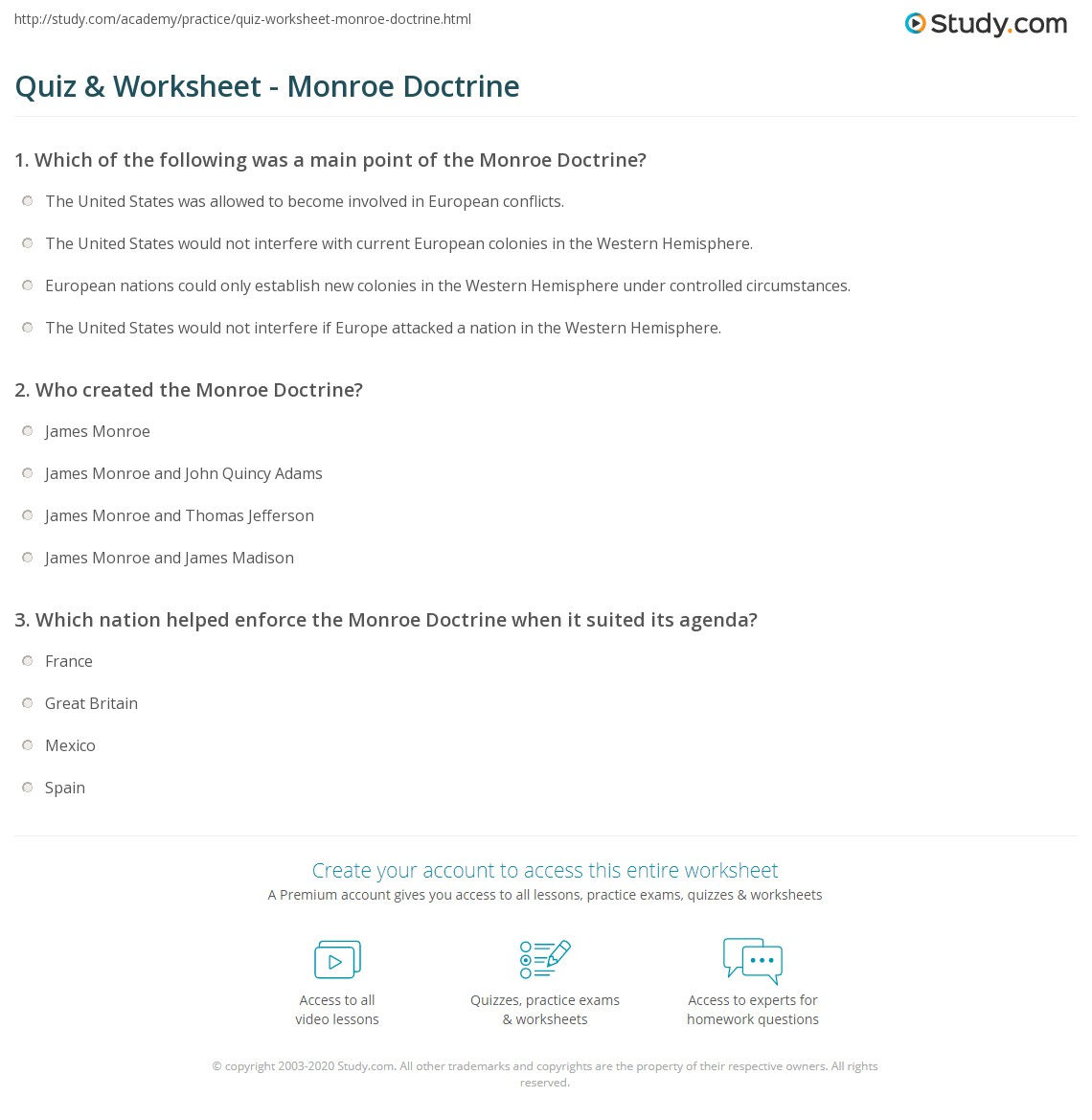 hight resolution of Quiz \u0026 Worksheet - Monroe Doctrine   Study.com