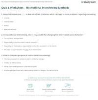 Quiz & Worksheet - Motivational Interviewing Methods ...