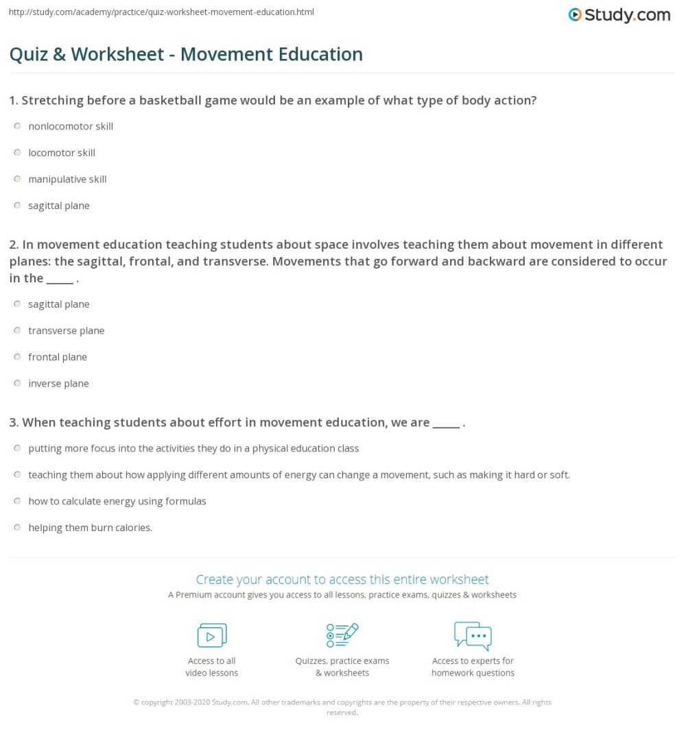 medium resolution of Quiz \u0026 Worksheet - Movement Education   Study.com