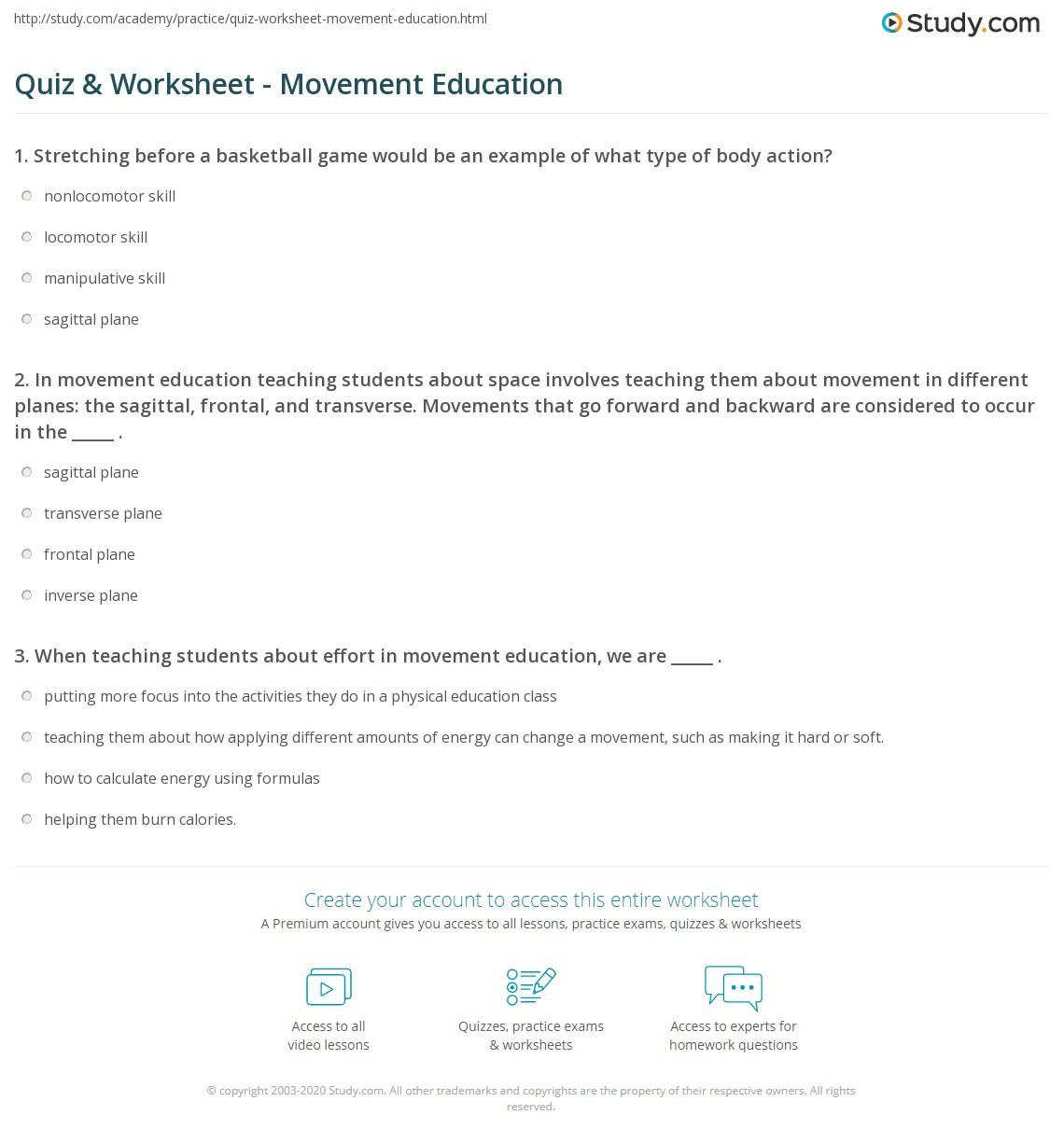 hight resolution of Quiz \u0026 Worksheet - Movement Education   Study.com