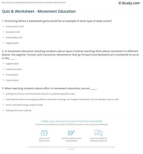 small resolution of Quiz \u0026 Worksheet - Movement Education   Study.com