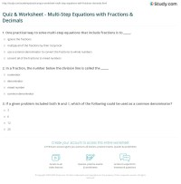 Quiz & Worksheet - Multi-Step Equations with Fractions ...