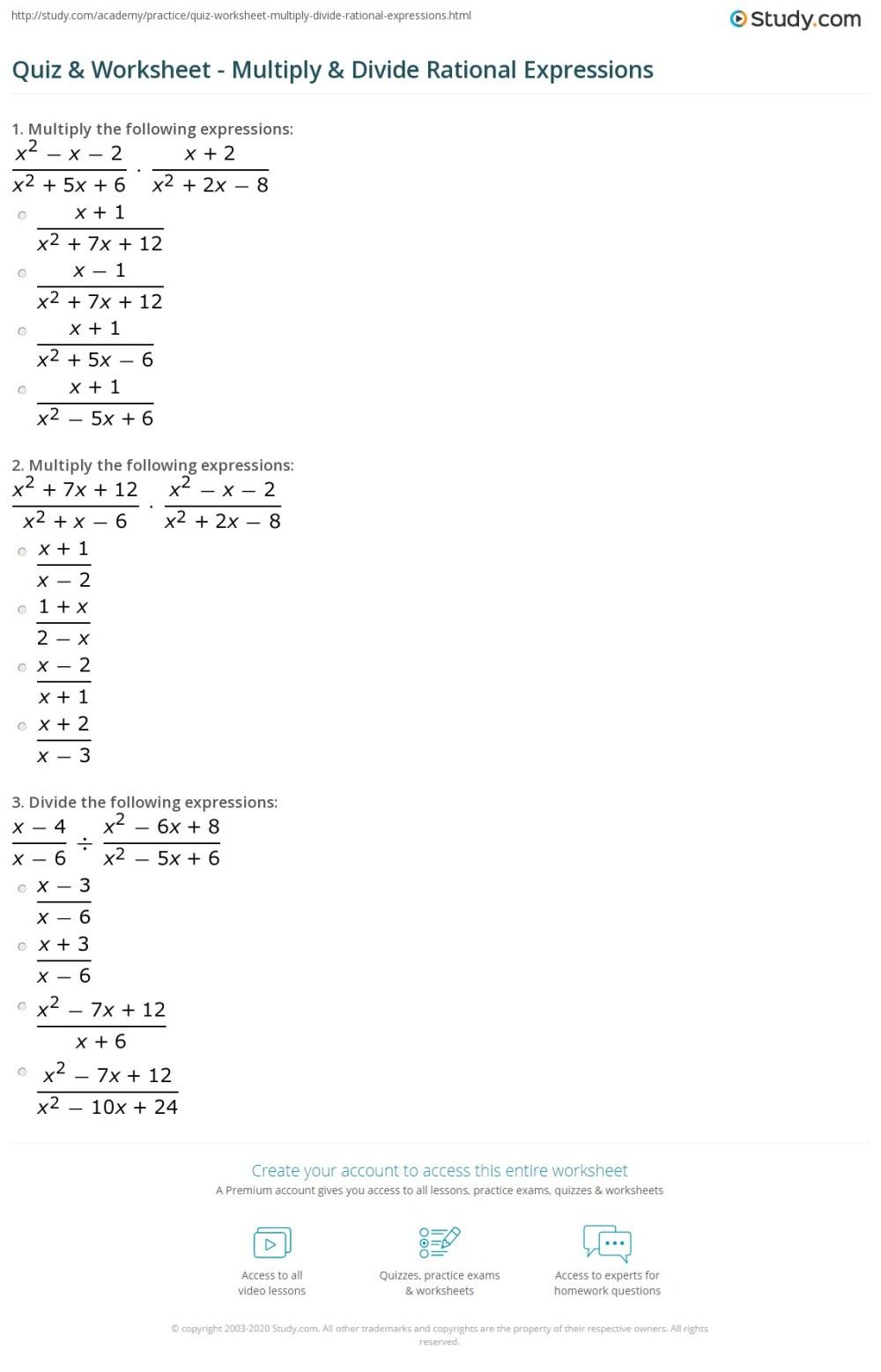 medium resolution of Quiz \u0026 Worksheet - Multiply \u0026 Divide Rational Expressions   Study.com