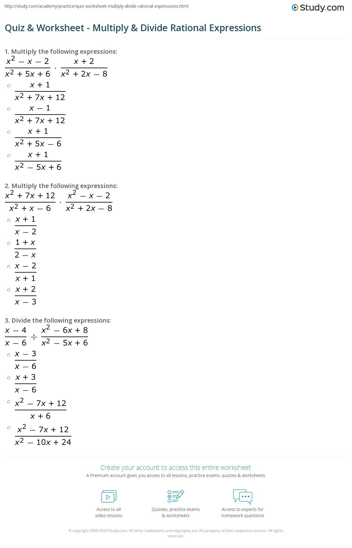 hight resolution of Quiz \u0026 Worksheet - Multiply \u0026 Divide Rational Expressions   Study.com