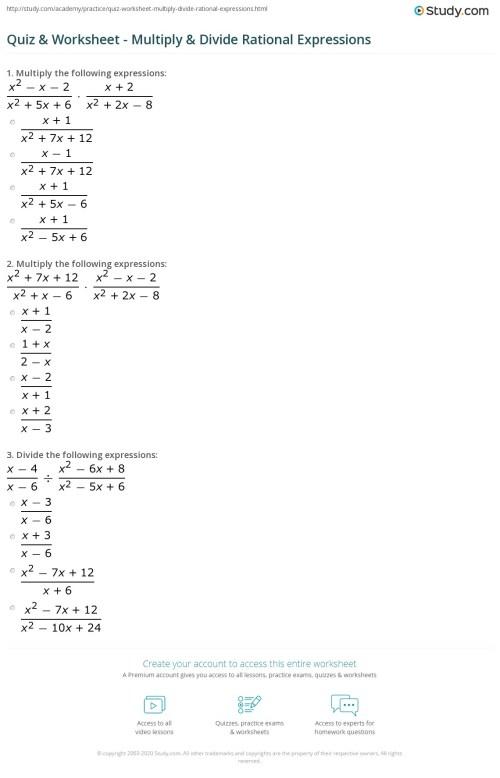 small resolution of Quiz \u0026 Worksheet - Multiply \u0026 Divide Rational Expressions   Study.com