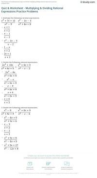 Quiz & Worksheet - Multiplying & Dividing Rational ...