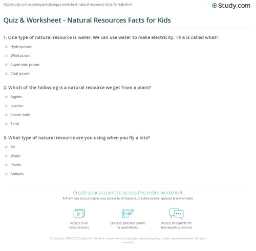small resolution of Quiz \u0026 Worksheet - Natural Resources Facts for Kids   Study.com