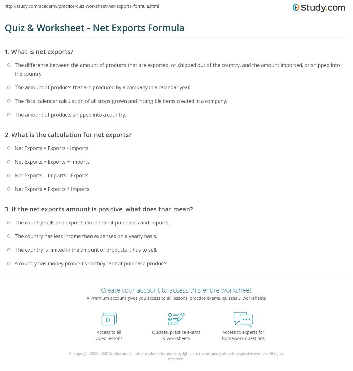 Quiz & Worksheet Net Exports Formula Study Com
