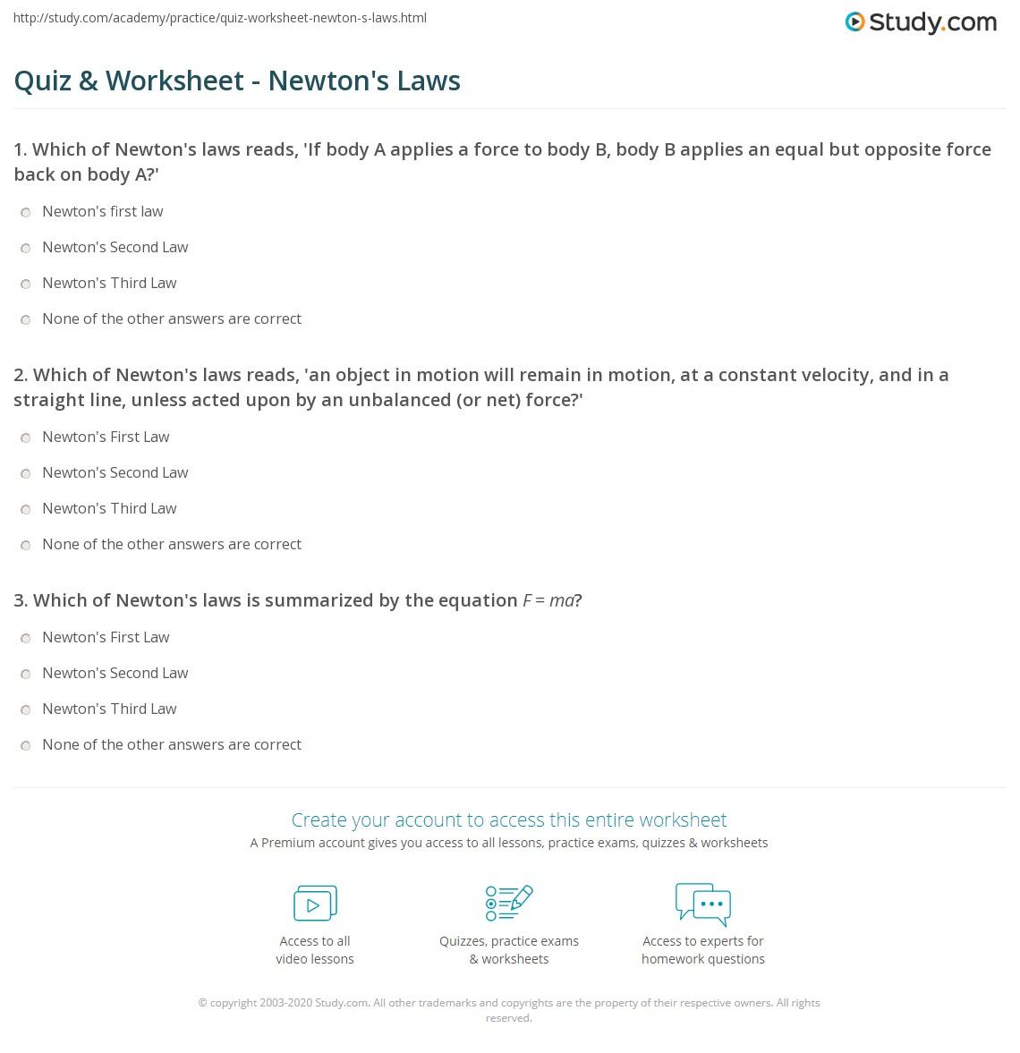 Newtons Laws Worksheet