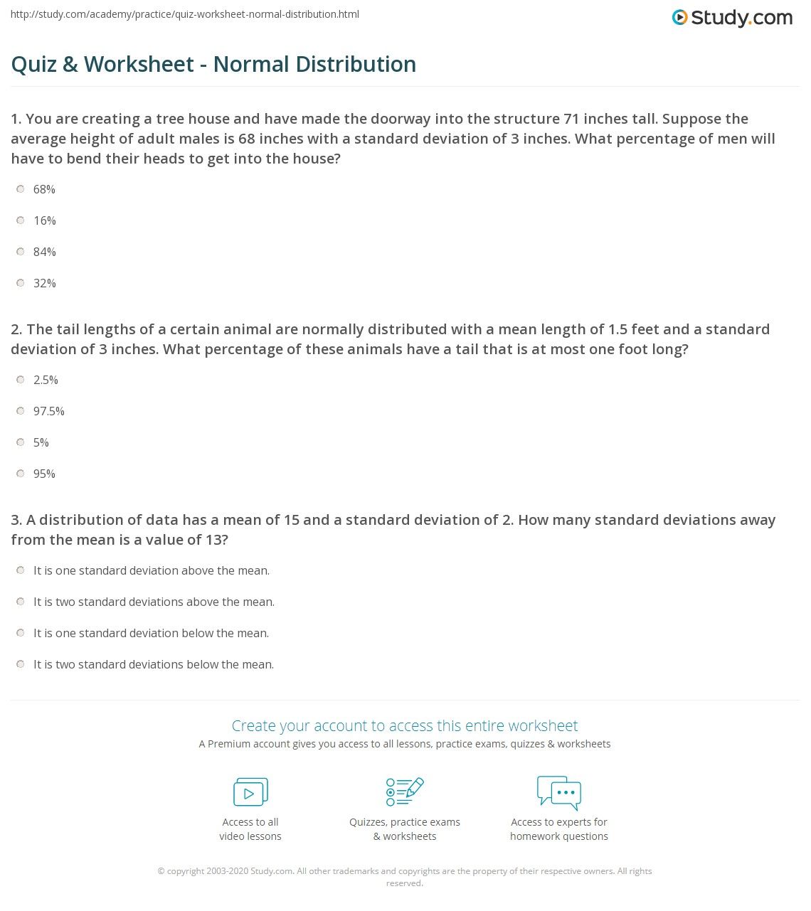 Printables Of Normal Distribution Worksheet 12 7