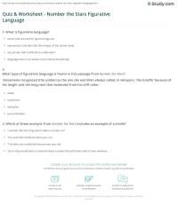 Quiz & Worksheet - Number the Stars Figurative Language ...