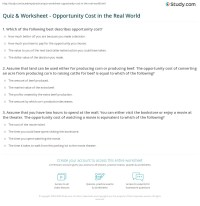 Quiz & Worksheet - Opportunity Cost in the Real World ...