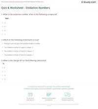 Quiz & Worksheet - Oxidation Numbers | Study.com