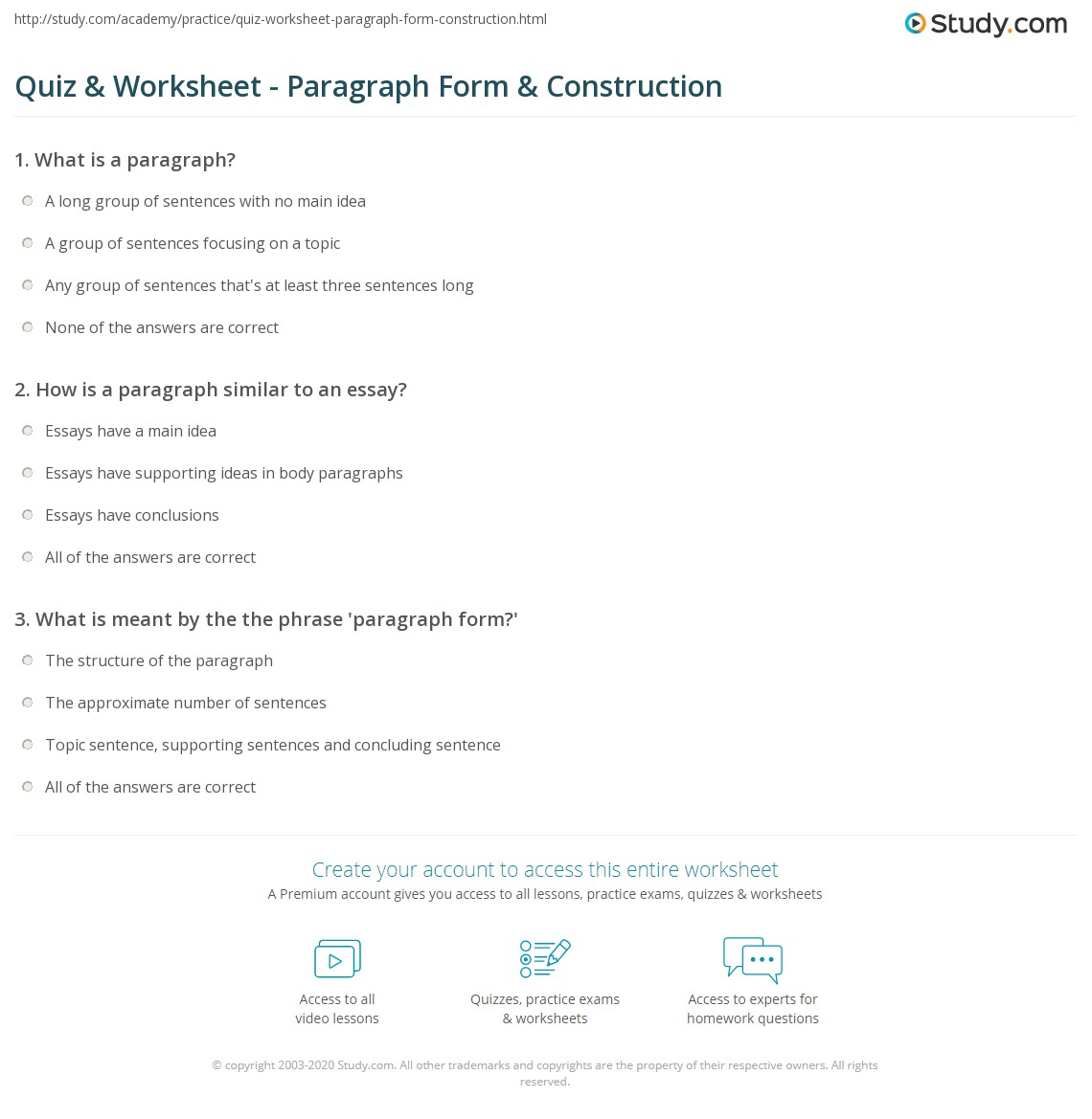 hight resolution of Quiz \u0026 Worksheet - Paragraph Form \u0026 Construction   Study.com
