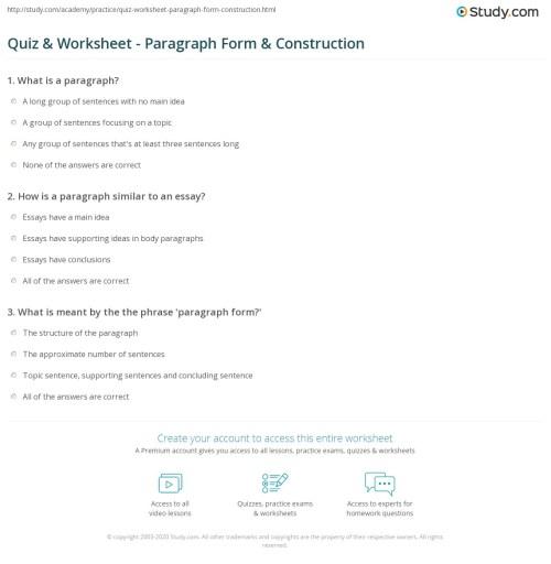 small resolution of Quiz \u0026 Worksheet - Paragraph Form \u0026 Construction   Study.com