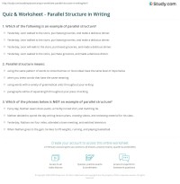 Quiz & Worksheet - Parallel Structure in Writing | Study.com