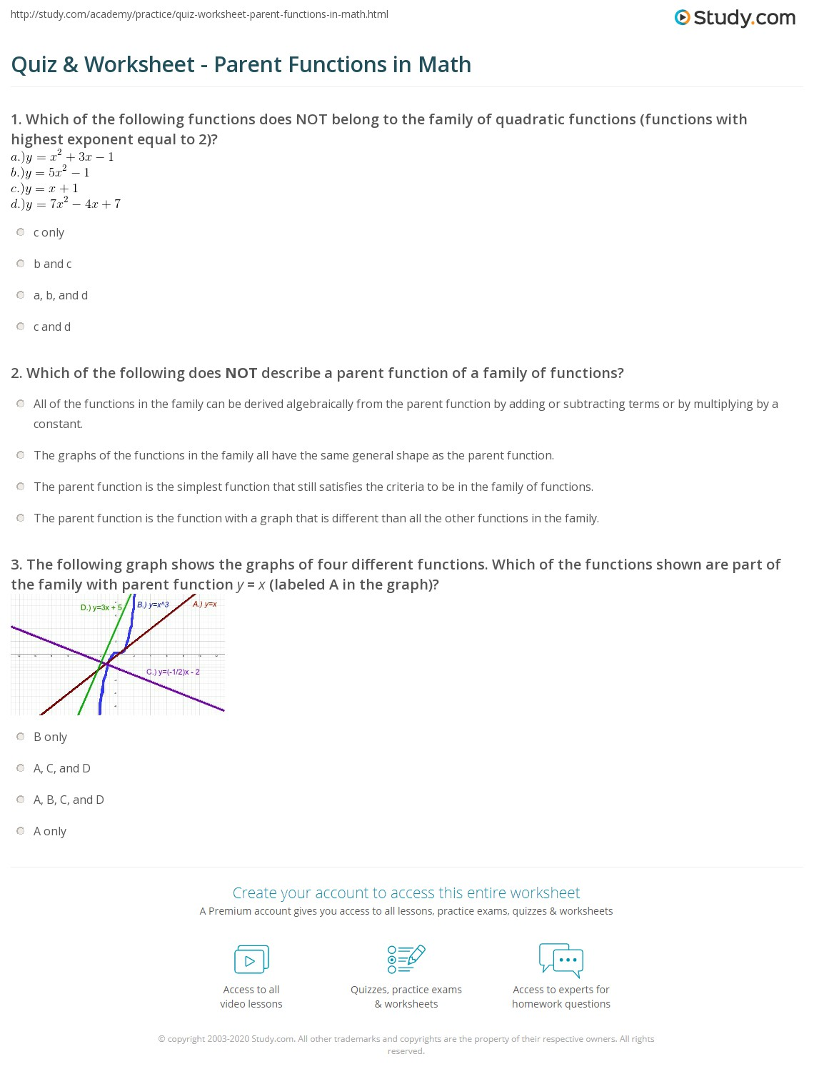 28 Parent Function Worksheet Answers