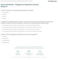 Quiz & Worksheet - Pedigrees & Population Genetics ...