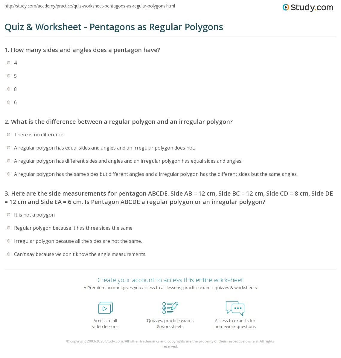 Worksheet On Regular Polygons