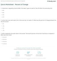 Quiz & Worksheet - Percent of Change | Study.com