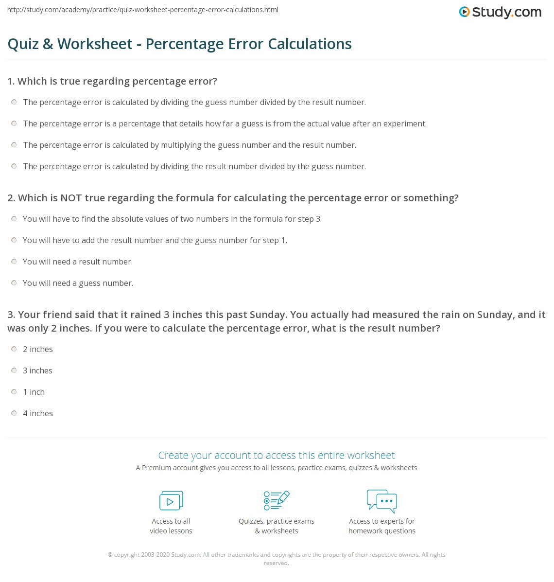 32 Percent Error Worksheet With Answers