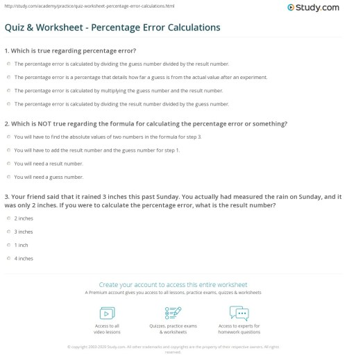small resolution of Percent Error Worksheet Answer Key - Nidecmege