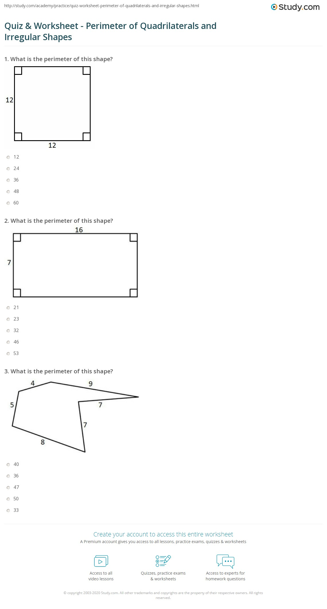 Perimeter Of Quadrilaterals Worksheet
