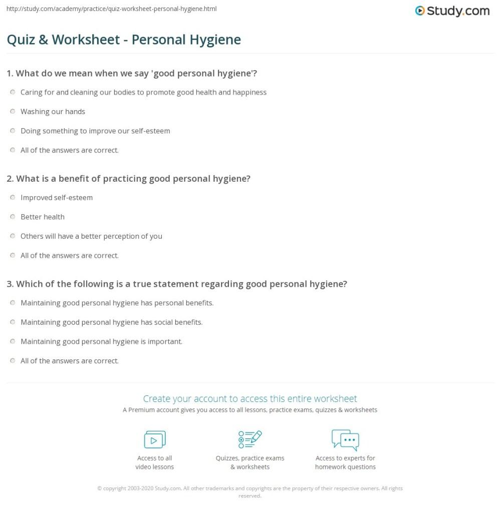 medium resolution of Quiz \u0026 Worksheet - Personal Hygiene   Study.com