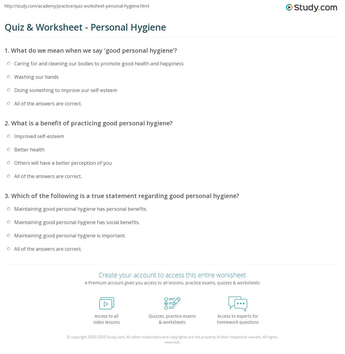 hight resolution of Quiz \u0026 Worksheet - Personal Hygiene   Study.com
