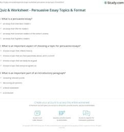 Quiz \u0026 Worksheet - Persuasive Essay Topics \u0026 Format   Study.com [ 1169 x 1140 Pixel ]