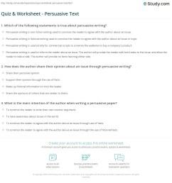 Quiz \u0026 Worksheet - Persuasive Text   Study.com [ 1197 x 1140 Pixel ]