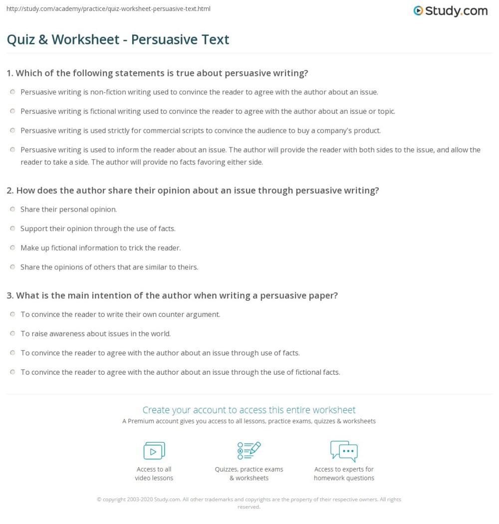 medium resolution of Quiz \u0026 Worksheet - Persuasive Text   Study.com