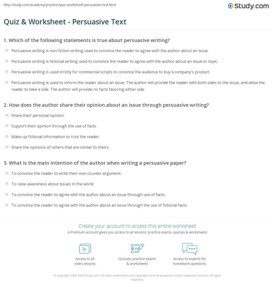 hight resolution of Quiz \u0026 Worksheet - Persuasive Text   Study.com