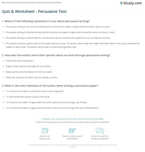 small resolution of Quiz \u0026 Worksheet - Persuasive Text   Study.com