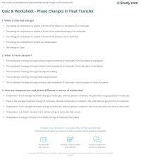 Quiz & Worksheet - Phase Changes in Heat Transfer | Study.com
