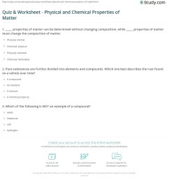 Quiz \u0026 Worksheet - Physical and Chemical Properties of Matter   Study.com [ 1232 x 1140 Pixel ]
