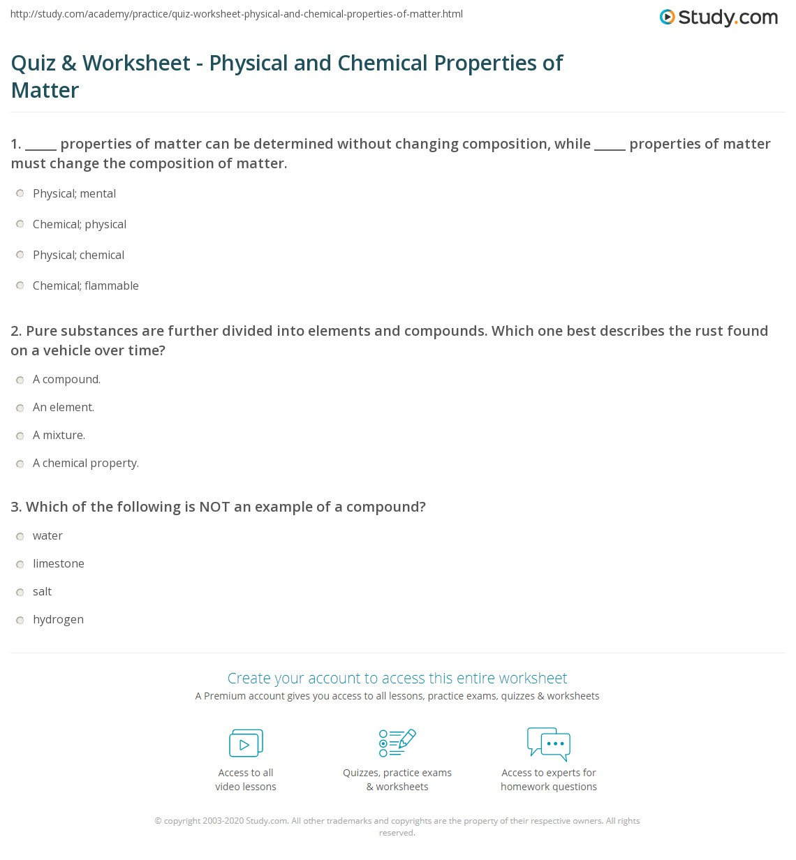 hight resolution of Quiz \u0026 Worksheet - Physical and Chemical Properties of Matter   Study.com