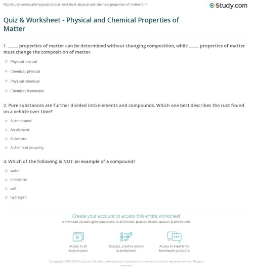 small resolution of Quiz \u0026 Worksheet - Physical and Chemical Properties of Matter   Study.com