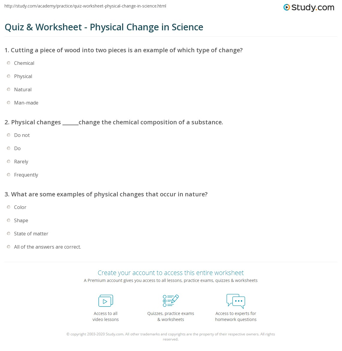 hight resolution of Quiz \u0026 Worksheet - Physical Change in Science   Study.com