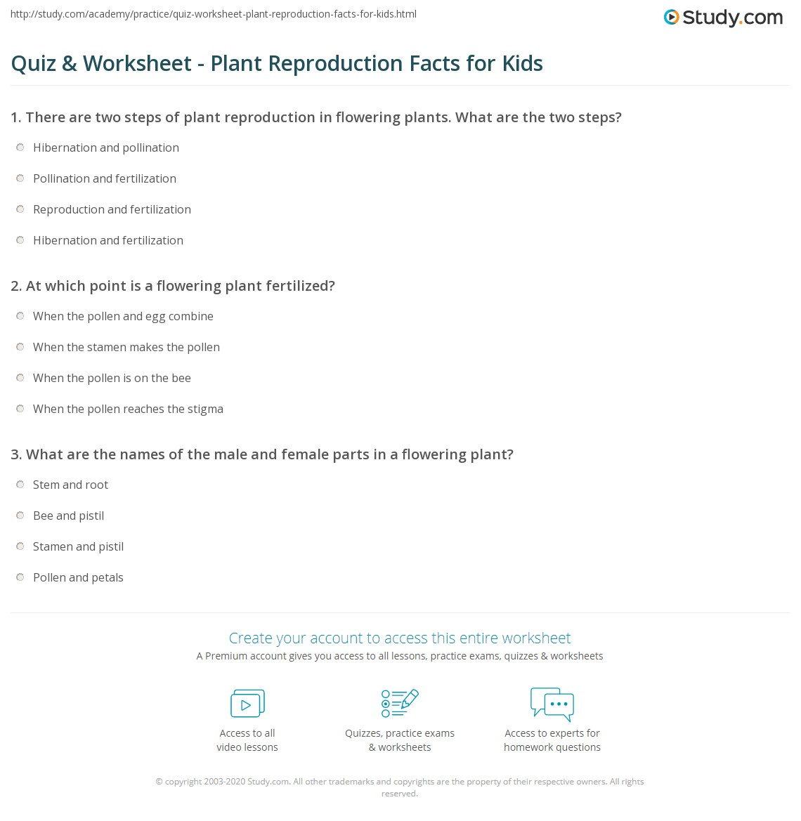 hight resolution of Quiz \u0026 Worksheet - Plant Reproduction Facts for Kids   Study.com