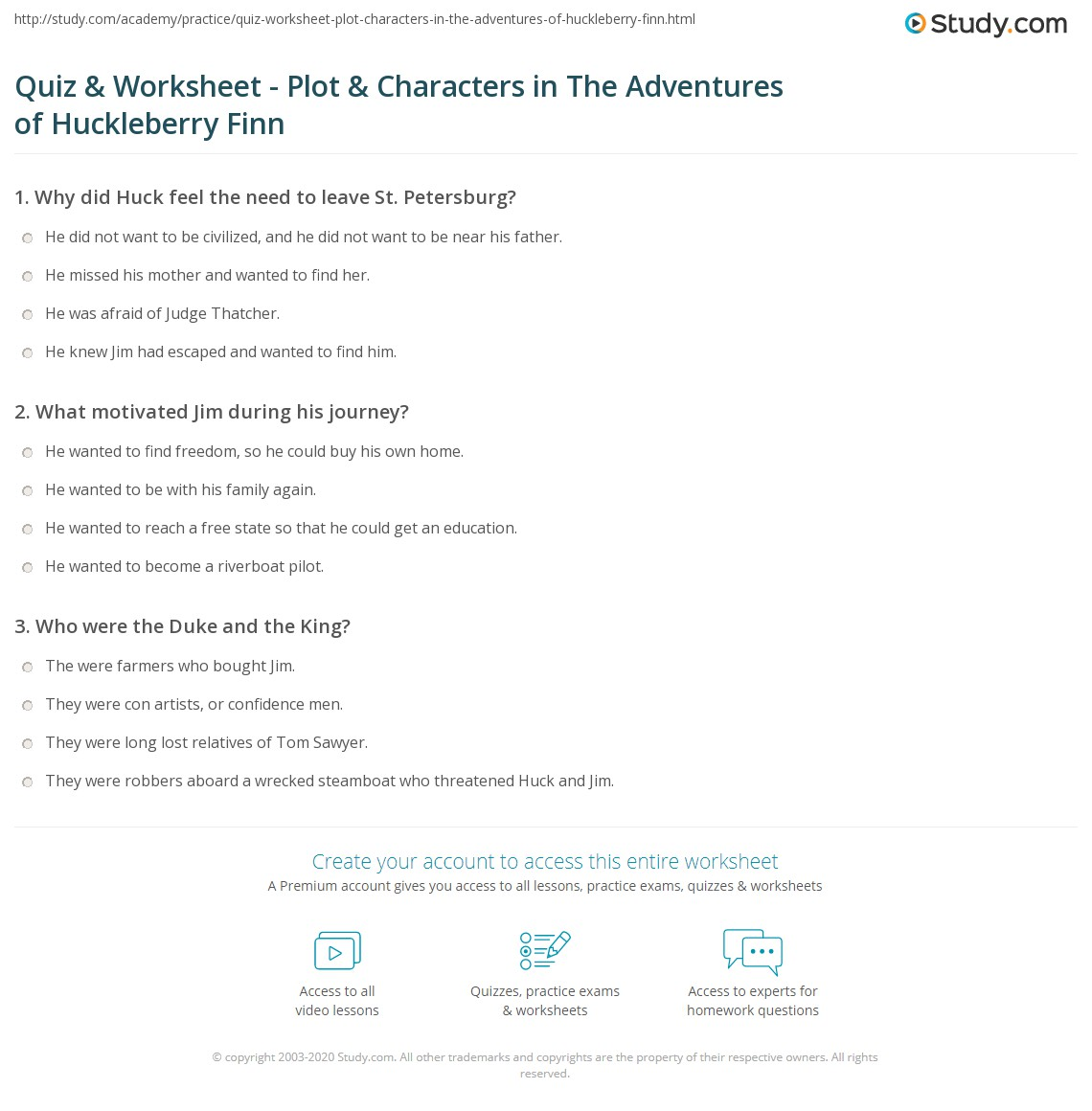 The Adventures Of Tom Sawyer Worksheets