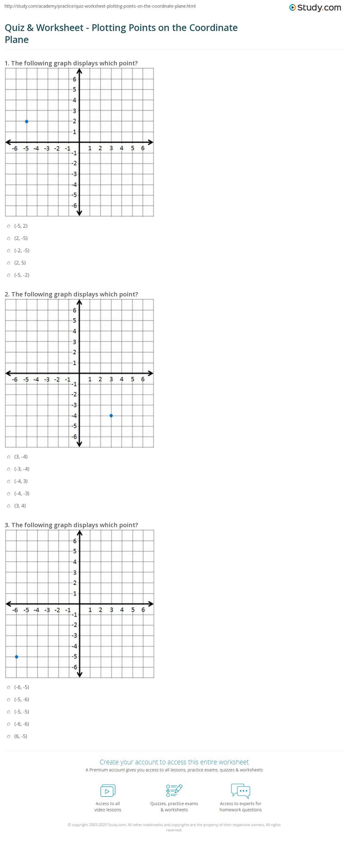 20 X 20 Coordinate Plane Worksheets