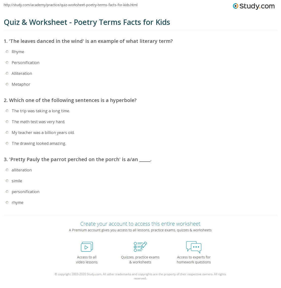 Quiz W Ksheet Poetry Terms F Cts Kids Study