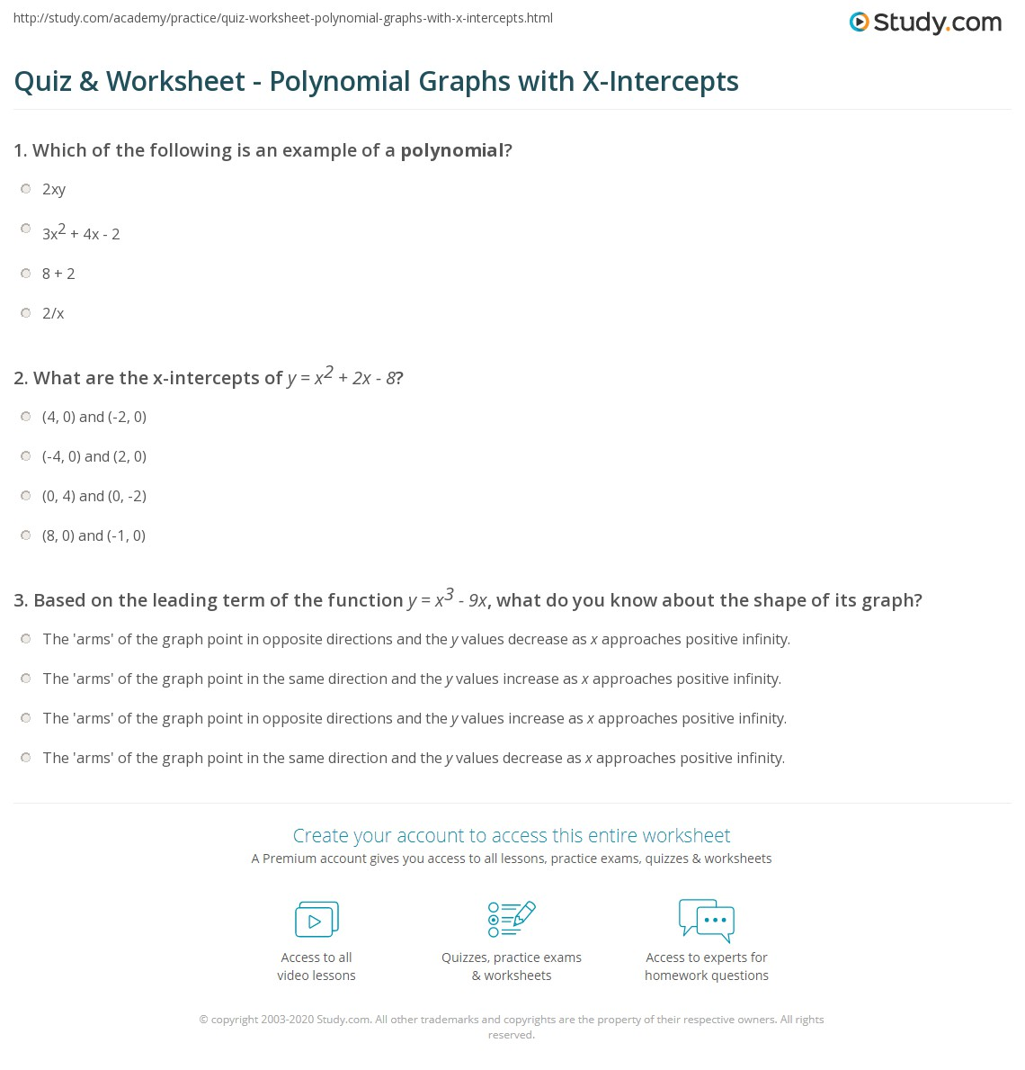 X And Y Intercepts Worksheet Free