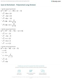 Long Division Of Polynomials Worksheet Free Worksheets