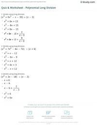 Long Division Of Polynomials Worksheet Free Worksheets ...